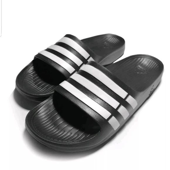 87d88e7d7ae3 Adidas Duramo slides men s black white 3 stripe